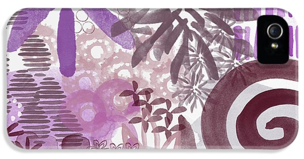 Plum And Grey Garden- Abstract Flower Painting IPhone 5 Case