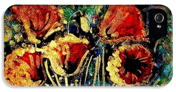 Poppies In Gold IPhone 5 Case