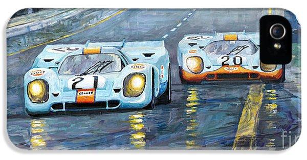 Car iPhone 5 Case - Porsche 917 K Gulf Spa Francorchamps 1971 by Yuriy Shevchuk