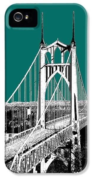 Portland Skyline St. Johns Bridge - Sea Green IPhone 5 Case