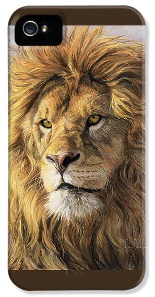 Portrait Of A Lion IPhone 5 Case by Lucie Bilodeau