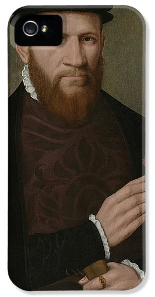 Portrait Of A Man With His Right Hand IPhone 5 Case by Master of the 1540s
