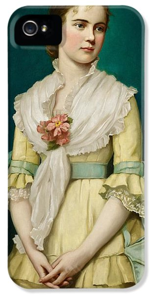 Portrait Of A Young Girl IPhone 5 Case by George Chickering Munzig