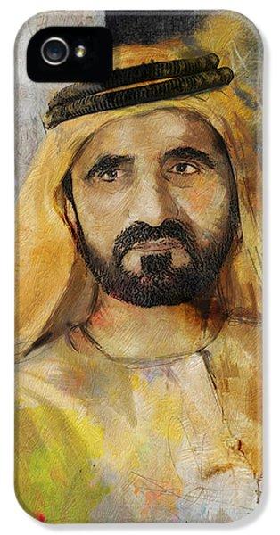 Portrait Of Muhammad Bin Rashid Al Maktoum IPhone 5 Case by Maryam Mughal