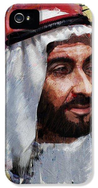 Portrait Of Zayed Bin Sultan Al Nahyan IPhone 5 Case by Maryam Mughal