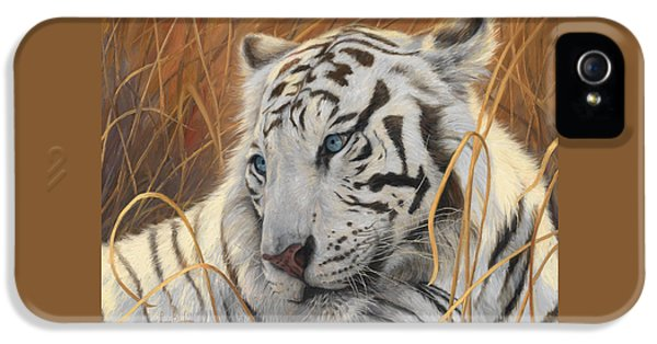 Portrait White Tiger 1 IPhone 5 Case by Lucie Bilodeau