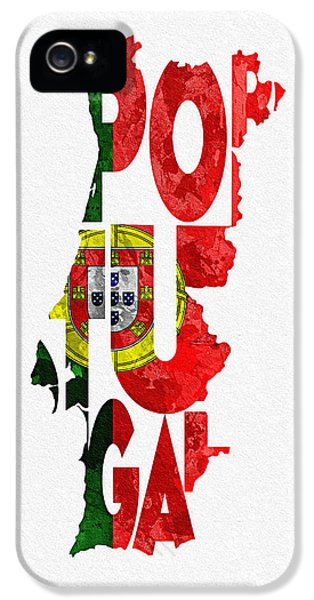 Portugal Typographic Map Flag IPhone 5 Case by Ayse Deniz