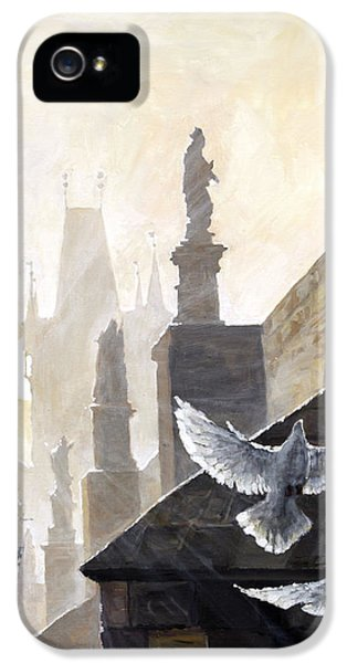 Prague Morning On The Charles Bridge  IPhone 5 Case by Yuriy Shevchuk