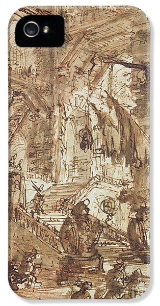 Dungeon iPhone 5 Case - Preparatory Drawing For Plate Number Viii Of The Carceri Al'invenzione Series by Giovanni Battista Piranesi