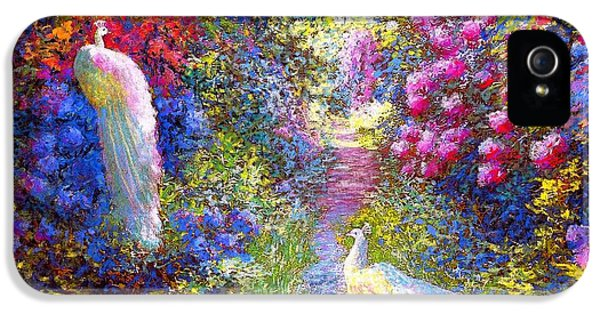 Impressionism iPhone 5 Case -  White Peacocks, Pure Bliss by Jane Small