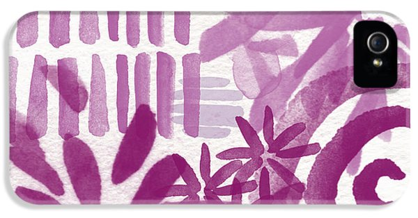 Purple Garden - Contemporary Abstract Watercolor Painting IPhone 5 Case by Linda Woods