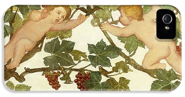 Putti Frolicking In A Vineyard IPhone 5 Case by Phoebe Anna Traquair