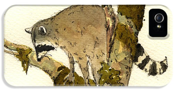Raccoon On A Tree IPhone 5 Case by Juan  Bosco