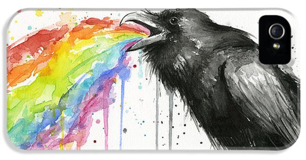 Raven iPhone 5 Case - Raven Tastes The Rainbow by Olga Shvartsur