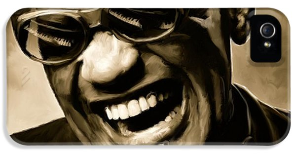 Ray Charles - Portrait IPhone 5 Case by Paul Tagliamonte