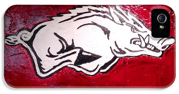 University Of Arkansas iPhone 5 Case - Razorback Painting Art by Dawn Bearden