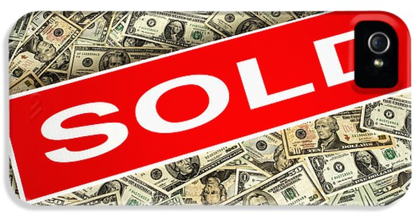 Real Estate Sold Sign Over Dollar Money Background IPhone 5 Case by Olivier Le Queinec
