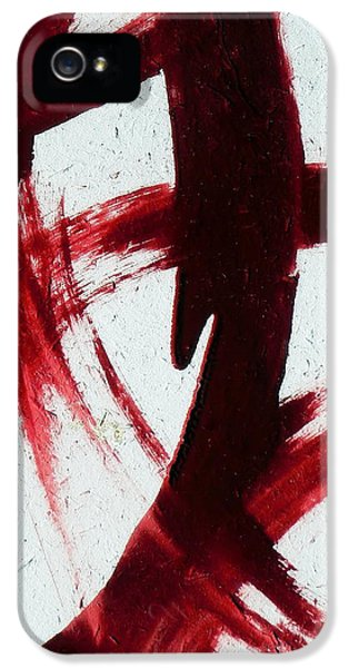 Red Abstract Art Set Dextress  IPhone 5 Case by Holly Anderson