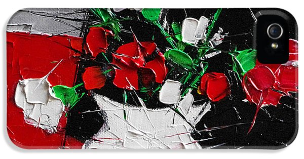 Red And White Carnations IPhone 5 Case by Mona Edulesco