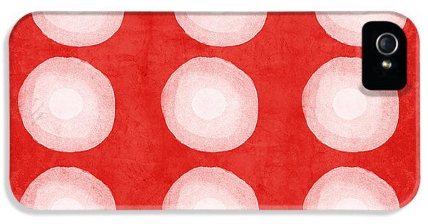 iPhone 5 Case - Red And White Shibori Circles by Linda Woods