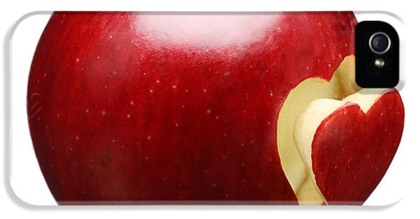 Red Apple With Heart IPhone 5 / 5s Case by Johan Swanepoel