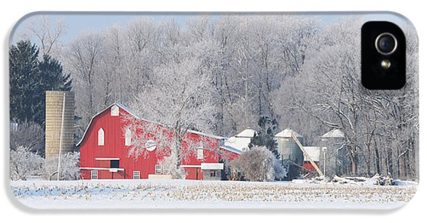 Whitehouse iPhone 5 Case - Red Barn Frosty Morning Panorama1 by Jack Schultz