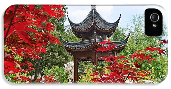 Garden iPhone 5 Case - Red - Chinese Garden With Pagoda And Lake. by Jamie Pham