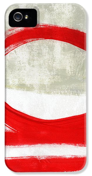Red Circle 4- Abstract Painting IPhone 5 Case by Linda Woods