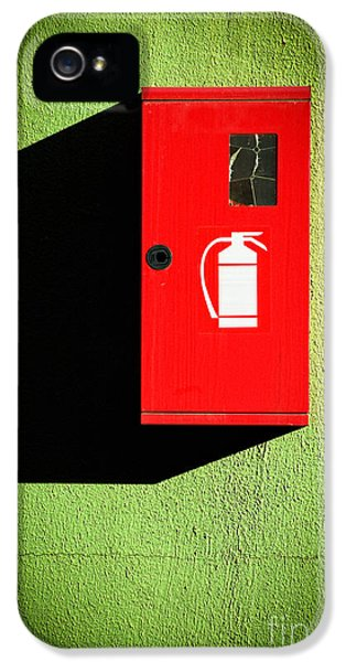 Red Fire Extinguisher Box IPhone 5 Case by Silvia Ganora