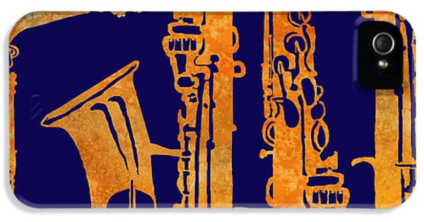 Saxophone iPhone 5 Case - Red Hot Sax Keys by Jenny Armitage