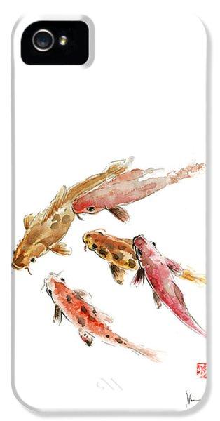 Red Koi Fish Fishes Orange Tangerine Caramel Brown Zodiac Pisces Watercolor Painting IPhone 5 Case by Johana Szmerdt