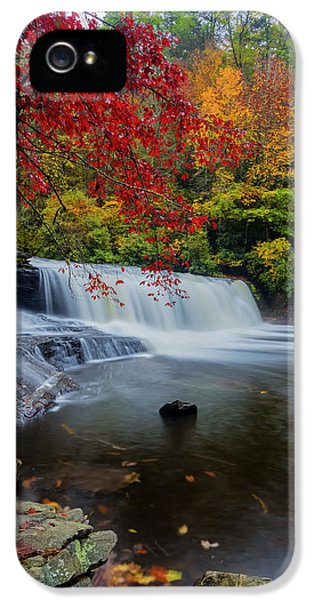 Red Leaves In Dupoint Park Hooker Falls IPhone 5 Case by Andres Leon