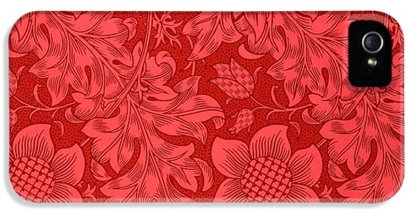 Red Sunflower Wallpaper Design, 1879 IPhone 5 Case by William Morris