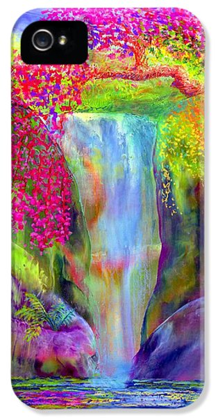 Impressionism iPhone 5 Case - Waterfall And White Peacock, Redbud Falls by Jane Small