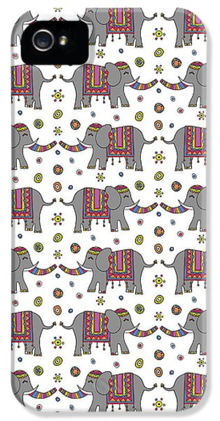 Repeat Print - Indian Elephant IPhone 5 Case by Susan Claire