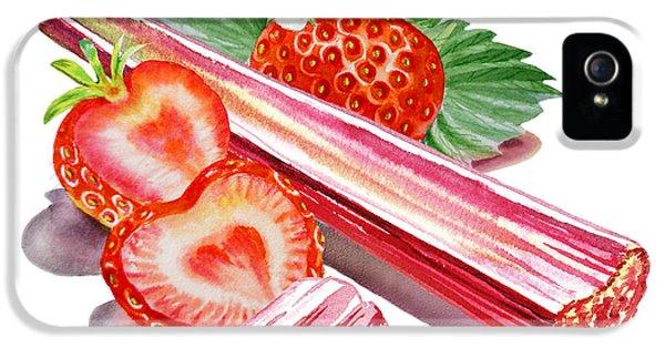 IPhone 5 Case featuring the painting Rhubarb Strawberry by Irina Sztukowski