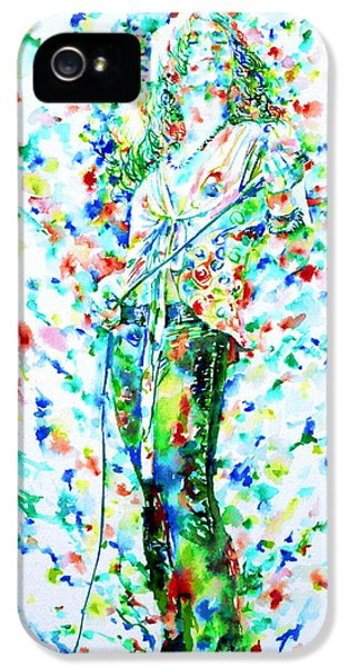 Robert Plant Singing - Watercolor Portrait IPhone 5 Case by Fabrizio Cassetta