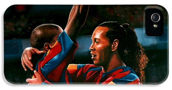 Ronaldinho And Eto'o IPhone 5 Case by Paul Meijering