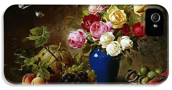 Roses In A Vase Peaches Nuts And A Melon On A Marbled Ledge IPhone 5 Case by Olaf August Hermansen