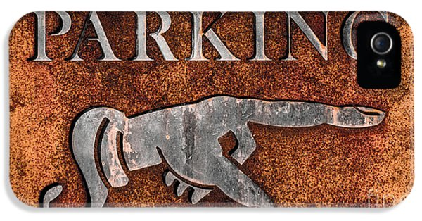 Rusty Vintage Iron Parking Sign Close-up IPhone 5 Case by Gary Whitton
