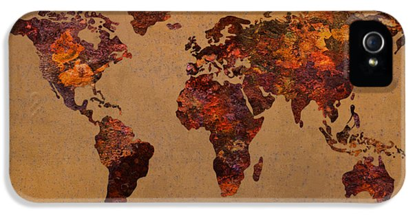 Rusty Vintage World Map On Old Metal Sheet Wall IPhone 5 Case