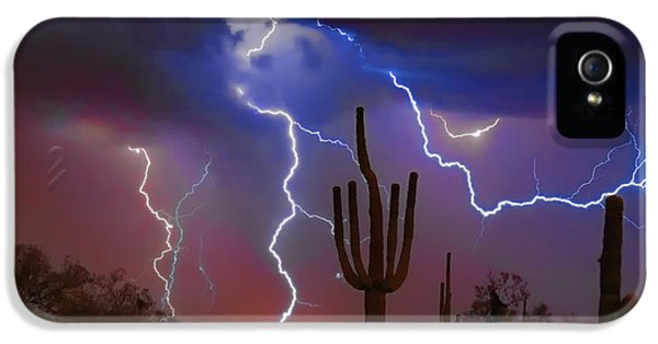 Saguaro Lightning Nature Fine Art Photograph IPhone 5 Case by James BO  Insogna