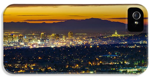 Salt Lake City At Dusk IPhone 5 Case by James Udall