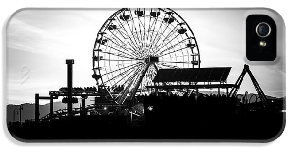 Santa Monica Ferris Wheel Black And White Photo IPhone 5 Case by Paul Velgos