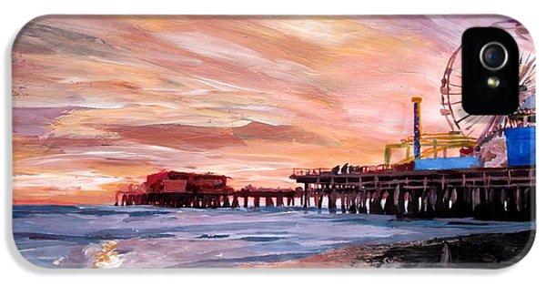 Santa Monica iPhone 5 Case - Santa Monica Pier At Sunset by M Bleichner