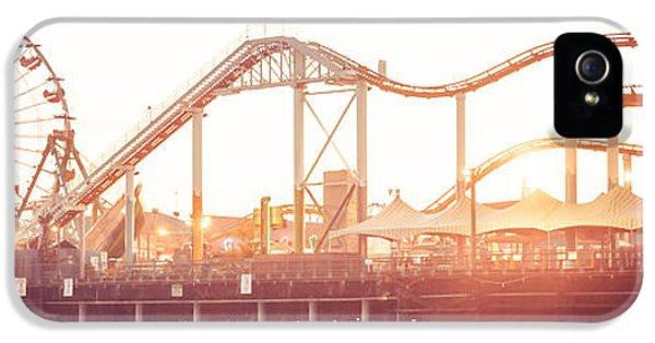 Santa Monica Pier Roller Coaster Panorama Photo IPhone 5 Case by Paul Velgos