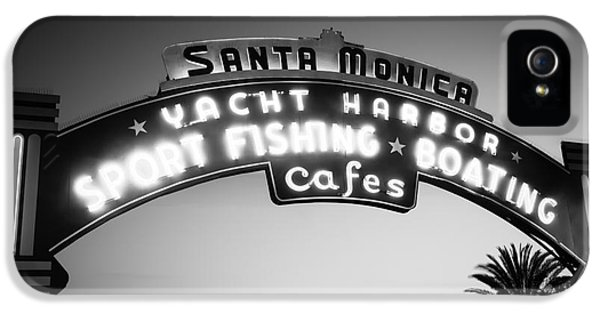 Santa Monica Pier Sign In Black And White IPhone 5 Case by Paul Velgos