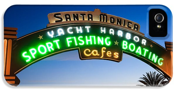 Santa Monica Pier Sign IPhone 5 Case by Paul Velgos