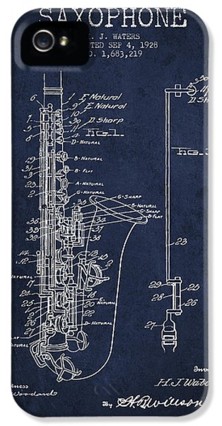 Saxophone Patent Drawing From 1928 IPhone 5 Case