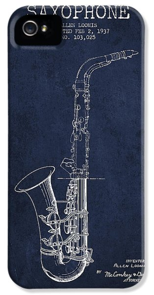 Saxophone Patent Drawing From 1937 - Blue IPhone 5 Case